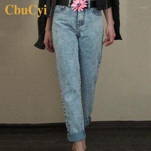 Senhoras de Cochicii Long Calças de Jeans Alto Cintura Lavagem de Algodão Boyfriend Jeans Calças Mulheres Vintage Solto Denim Calças Calças1
