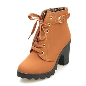 Fashion 2020 Boots Women Short Leather Thick Bottom Martin Boots Autumn Winter Square Heels Shoes