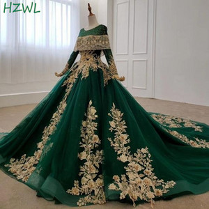 Dubai Dark Green Evening Gowns Gold Flora Appliques Long Sleeves A Line Prom Dresses Saudi Arabia Sweep Train Robe De Soiree