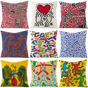Harlem linen Case pillow case cartoon hand painted love pillow case furniture