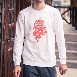 Men DIY Clothing Fashion Dragon Printed Sweatshirts Mens Long Sleeve Solid Color Hoodies Pullover Tops Mens Clothing