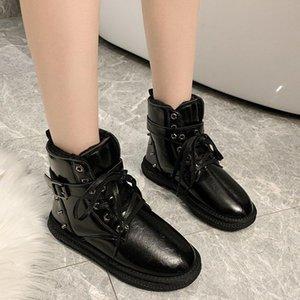 Yukarı Kürk Düz Sıcak Ayakkabı Bilek Boots Dantel Metal 2020 Toka Boots Platformu Kar Kadınlar Perçin Kış Kısa Patik Tghkl