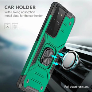 Car Holder Phone Case For Samsung A72 A52 A21 A11 A02s A12 A32 Magnet Suction Shock proof PC+TPU Hybrid Layer Finger Ring Defender Cover