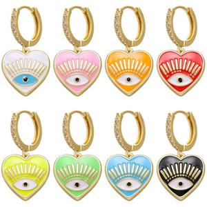 Hecheng 1pair olhos coloridos brincos amor do coração de moda por atacado para mulheres meninas accessries jóias VE213