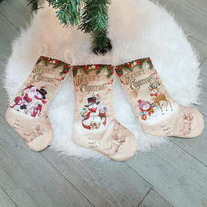 Stocking DHL Large Santa Claus Sock Plaid Burlap Holder Christmas Tree Decoration New Year Gift Candy Bags