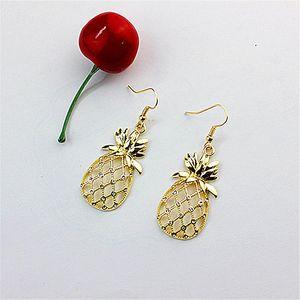 New white glass jewelry fashion accessories wholesale girls birthday party lifelike golden pineapple pendant earrings free shipp
