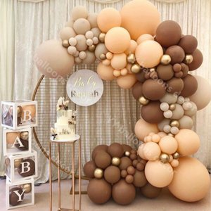 Balloons Garland Arch Metal Gold Globos Latex Retro Coffee Skin DIY Birthday Wedding Baby Shower Anniversary Party Decorations Y0107