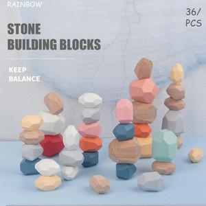 Regenbogen-Bausteine Nordic Ins Art bunte Stein Holz Stein Jenga Spielzeug der Kinder Ornamente Bricks Pro Craft Gift Ornaments LSK1535