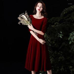 Vestido de cóctel de encaje rojo Vestido Velvet Media manga de rodilla-Duración de la rodilla Vesidos MUJER 2020 Cóctel elegante1