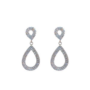 New Zircon Water Drop Shaped Cubic Zirconia Crystal Bridal Earrings For Women Girls Wedding Jewelry Gifts Silver