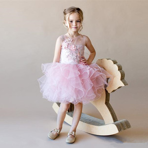 2021 HOT New Cute Flower Girl Dresses For Weddings Ball Gown Tulle Appliques Lace Beaded Long First Communion Dresses Little Girl