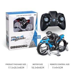 2 en un control remoto Transformable Quadcopter Motorcycle Toy, simuladores, Drone de doble modo de aire terrestre, 360 ° Flip Luces de colores, regalo de Christmas Kid Boy, 2-1