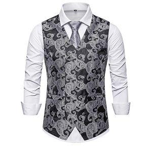 Mens Black Paisley Double Breasted Suit Vest 2020 Brand Slim Fit Wedding Tuxedo Vest Waistcoat Men Business Formal Dress Vests