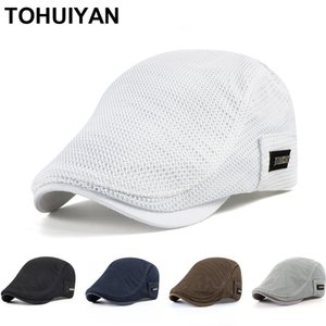 New Summer Mens Hats Breathable Mesh Newsboy Caps Outdoor Gorro Hombre Boina Golf Hat Fashion Solid Flat Cap For Women 201027