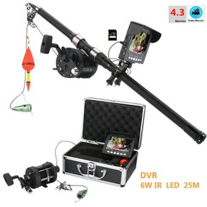 PDDHKK 4.3 '' Zoll MONITOR 1000 TVL Waterproof Visuelle Video Fish FishCam 6 PC 1W Helle LED IR-Leuchten mit DVR-Recorder