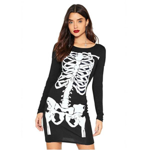 CIBO Hot Womens Adult Halloween Costumes Round Neck Long Sleeve Personality Skeleton Dress Cosplay Costume Girls Casual Clothes