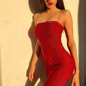 Off Shoulder Spaghetti Strap Mini Backless Bandage Bodycon Party Dress Women Sexy Red Vintage Sheath Dress for Party Night #Yc37