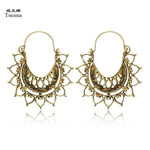 Tocona Vintage Antique Gold Silver Color Hollow Heart Hoop Earrings Ethnic Punk Piercing Earring Brincos for Women Jewelry 6678