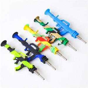AK47 Форма пистолета Силиконовый Нектар Nectar Collector Kit Комплект портативный концентрат дымовой трубы водопроводной трубы с титановым наконечником DAB соломенные масла