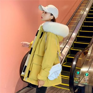 2020 Nuove donne M Brand Down Jacket Short Real Fox Capelli Capelli con cappuccio Velcro GOose Donne Long Winter Coat Parka per