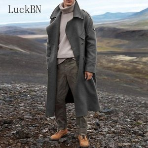 Winter Coat Men Clothing Long Trench Casual Brown Warm Wool Coat Streetwear Trench Jacket Outerwear Blends Mens Clothing