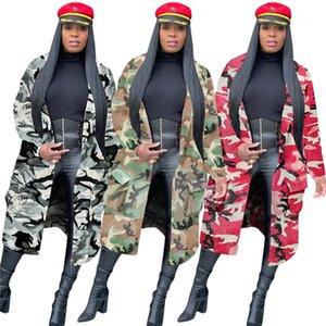 Womens Designer Solto Sexy Longa Lapela Pescoço Outerwear Roupas Outono Inverno Casual Mulheres Casaco Camuflagem Trench Cassetes