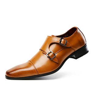 Горячая Продажа-2020 обувь из натуральной кожи для мужчин Свадебного платья офис обувь Браун Патина ручной Monk Strap Повседневной обуви