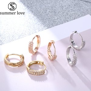 Designer Zircon Gold Silver Earring Double Row Cubic Zirconia Huggie Hoop Cartilage Earrings For Women Simple Bohemian Wedding Party Jewelry