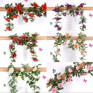 Plastic Rose Artificial Flower 2.2M Steel Wire Rattan Easy Entangle Flowers Wedding Decor Home Garden Party Flower Vine 6 5sw G2