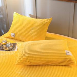 LREA 1PC Thinken Flanel Fleece Coral Taie d'oreiller Couvercle sur la literie Oreiller à la maison chaleureuse et confortable