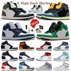 High Dark Mocha Midnight Navy 1 1s Jumpman Mens Women Basketball Shoes Chicago bred toe Obsidian UNC light smoke grey Sport Outdoor sneakers