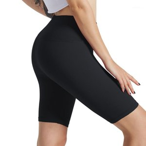 Leggings Donne Sport Solido Mid Thigh Stretch Cotton Span Stretch Vita alta Attivo Leggings Attivo VETUMENTO Femme 20201