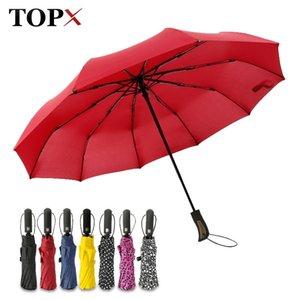Topx Neue große starke mode winddichte regenschirm männer sanftle 3fold kompakt vollautomatisch regen hochwertige pantee regenschirm frauen y200324