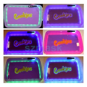 Cookies Glow Tray Runtz LED Rolling Tray Multi LED Lights Color ABS Trays Grinder Function 6 Colors Rechargeable Battery Tray HWB708