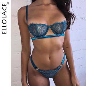 Ellolace Sexy Lingerie Underwear Set Women Lace 2 Piece Set See Through Bralette and Thong Bodycon G-String Sexy Bra Patry