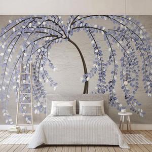 Custom Photo Wallpaper 3D Stereo Purple Tree Leaf Murals Living Room TV Sofa Home Decor Creative Wall Paper 3D PVC Wall Stickers