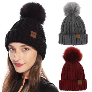 1 PC New Knitted Beanie Hats Women Elegant Outdoor Warm Hats for Girls Faux Fur Bobble Pom Pom Ski Caps Female1