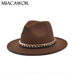 Lana catena MIACAWOR nuovo modo delle fedore dei cappelli delle donne tesa larga Cappello Jazz Vintage Cappello Panama Cowboy Uomo Nero Cappellini Dropshipping F111
