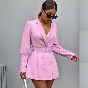Schlanke Frauen Designer Blazer Solid Color Sexy V-Ausschnitt-Klagen mit Schärpe Autumn Fashion Langarm Frauen Blazer Mäntel
