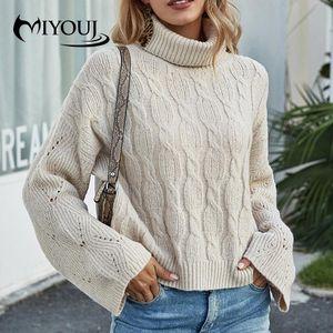 Miyouj толстая водолазка Pullovers розовые цветные свитеры Tops 2020 осень зимняя уличная одежда женщина свитера