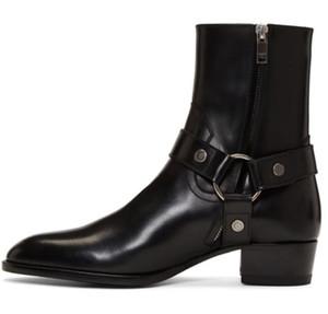 Vendita calda uomo nero in vera pelle Wyatt imbracatura stivali da 40 cablaggio caviglia pelle scamosciata in pelle di cinghia classica in pelle di vitello SLP KW scarpe scarpe
