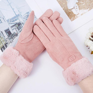 1pair Women Gloves Fashion Warm Mitts Full Finger Mittens Winter Outdoor Sport Female Screen Gloves Soft Furry Women