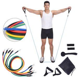 11pcs / set Latex-Widerstand-Bänder Workout Seil ziehen Übung Pilates Yoga Crossfit Fitness Gummischlaufe Indoor Sporttraining KKA2148