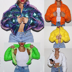 INS Doce Cor Mulheres Sólidos Glossy Pão Coats 2020 Inverno Keep Warm Lady Zipper Fique Collar completa Jacket manga curta de algodão acolchoado