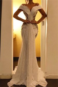 2020 Mermaid Lace Sequines sexy Prom Dresses Appliques v neck Off the Shoulder Evening Dress Backless Custom Made Pincess Party Gowns