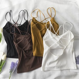 New Sexy Mulheres Cut Out listrado Sutiã Bustier Top Curto Bralette Strappy Cruz recortada Blusas Bandage Halter Preto Tops Camis 200930