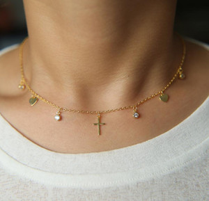 heart cz cross drop charm delicate chain choker stunning gorgeous ladies design statement chunky necklace fashion