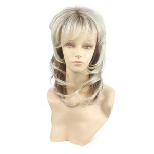 Parrucca bionda di Thanghair Synthetic Length Medium Lunghezza media con parrucca sintetica radice scura per le donne parrucca di strati a cascata