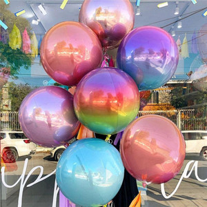 Rose Gold 4D Foil Balloons 10 18 22 Inch Helium Globals Rainbow Color Metallic Balloons Birthday Party Decor Wedding Baby Shower