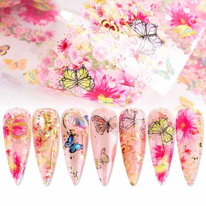 10 Sheets Butterfly Flowers Nail Stickers Water Transfer Decals Colorful Blue Design Nail Art Manicure Sliders Wraps Foils